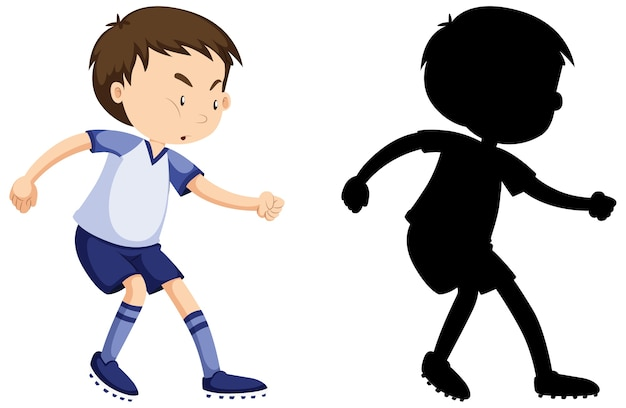 Jongen voetballen in kleur en silhouet