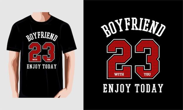 Jongen vriend typografie tshirt ontwerp premium vector