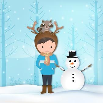 Jongen, wasbeer en sneeuwman winter illustratie