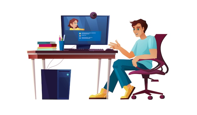 Jongen werkt vanuit kantoor aan huis, student of freelancer op computer. videogesprek, conferentie of onderwijs