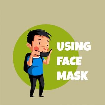 Jongen wil masker dragen om covid19 te voorkomen