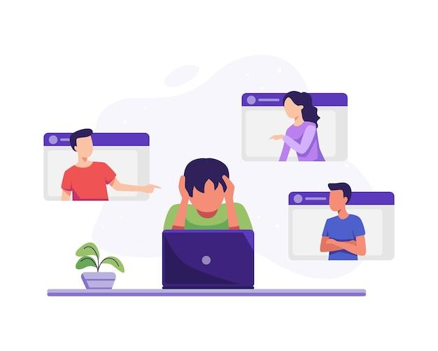 Jongen wordt online gepest. cyberpesten in sociale netwerken en online misbruikconcept. vectorillustratie in een vlakke stijl