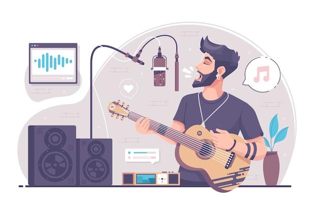 Jongen zingen en spelen gitaar afbeelding achtergrond
