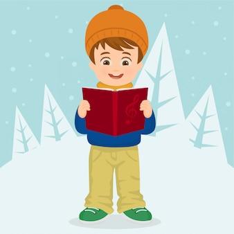 Jongen zingen kerstliederen