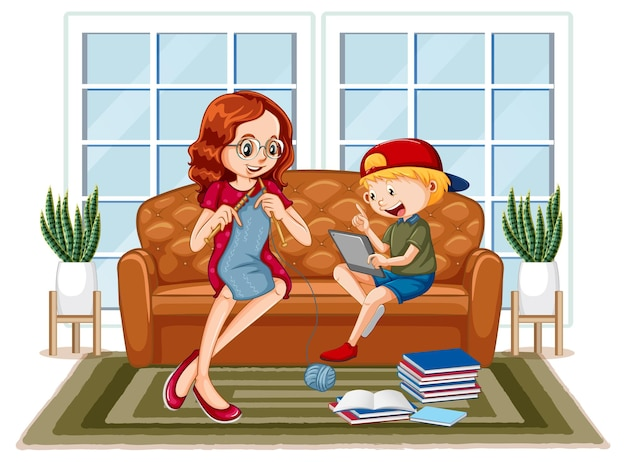 Jongen zit op de bank en leert van tablet met zijn moeder