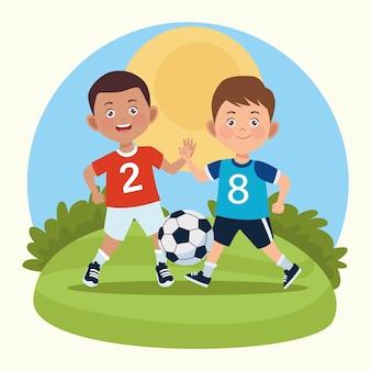 Jongens aan het voetballen