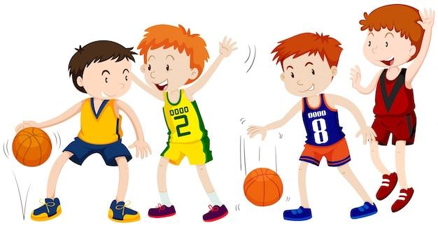 Jongens die basketbal op witte achtergrond spelen