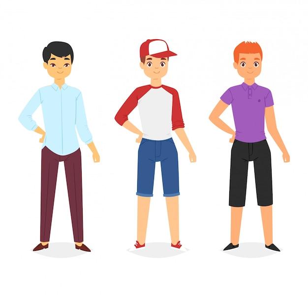 Jongens die mode kleding dragen