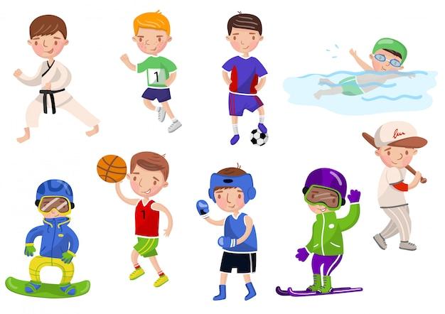 Jongens die verschillende sporten uitoefenen en spelen, kinderen die de illustraties van het sportenbeeldverhaal doen