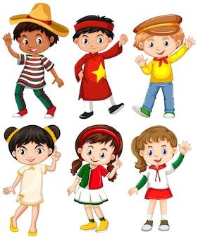 Jongens en meisjes in verschillende klederdrachten