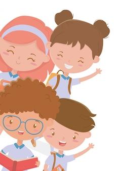 Jongens en meisjes kind van schoolontwerp