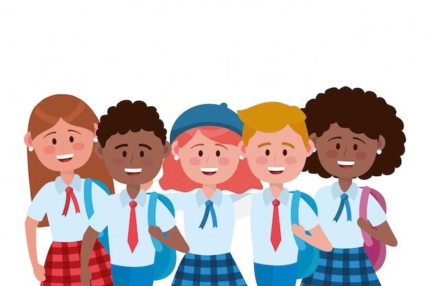 Jongens en meisjes kinderen van schoolontwerp