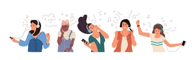Jongens en meisjes luisteren naar muziek en genieten van geluid