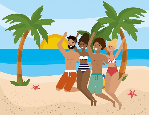 Jongens en meisjes met zomerse badkleding d