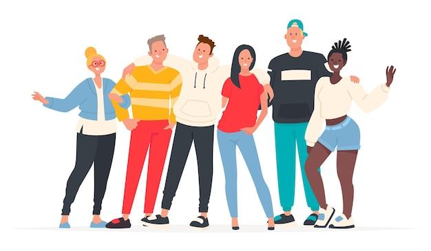 Jongens en meisjes, tieners glimlachen en zwaaien met hun handen. internationaal gezelschap van studenten op wit