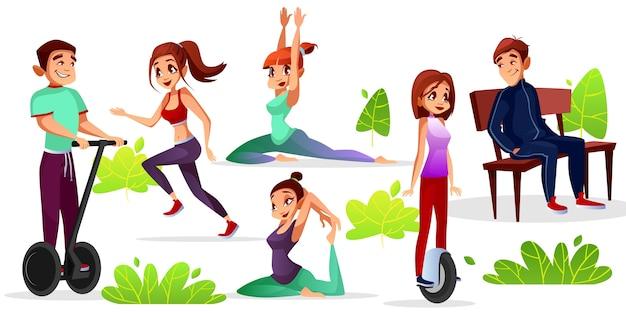 Jongens en meisjes vrijetijdsbesteding illustratie van tieners sport en recreatie in outdoor park.