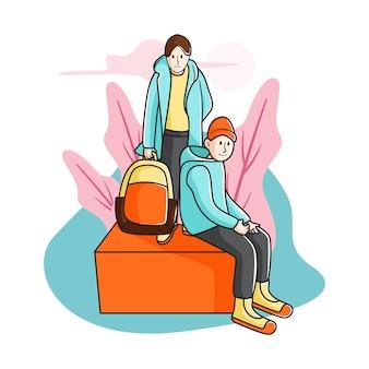 Jongens klaar om naar school te gaan