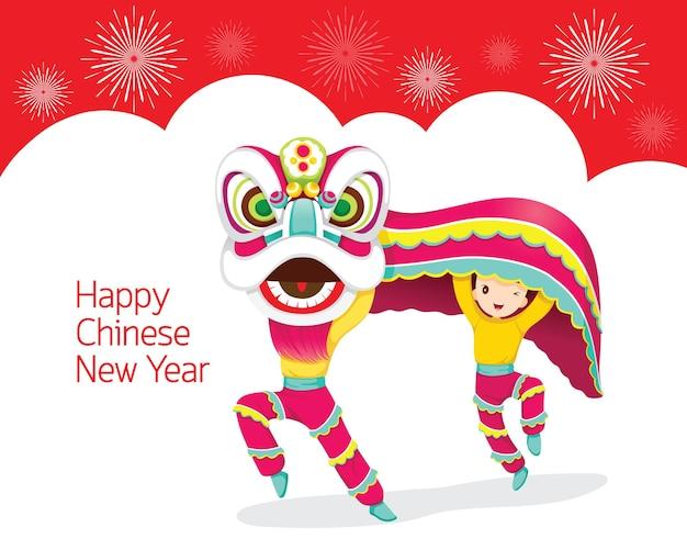 Jongens met lion dancing frame, traditionele viering, china, gelukkig chinees nieuwjaar