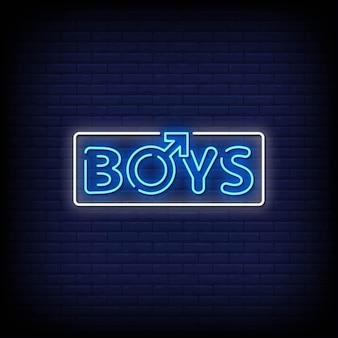 Jongens neonreclames stijltekst op blauwe muur
