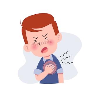 Jongens of man of mensen met een hartaanval. karakter met pijn op de borst. hartzeer. pijnlijke uitdrukking op het gezicht. ziekte concept. geïsoleerd. illustratie in platte cartoon stijl. gezondheid en medisch.