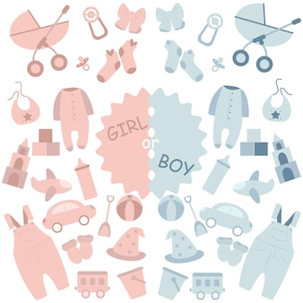 Jongens- of meisjesset met kleding en speelgoed