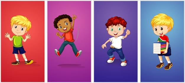 Jongens op verschillende kleurenachtergrond