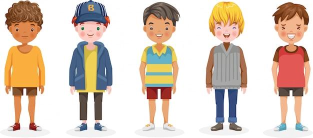 Jongens set van kinderen. leuke cartoon verschillende en verschillende etnische groepen.