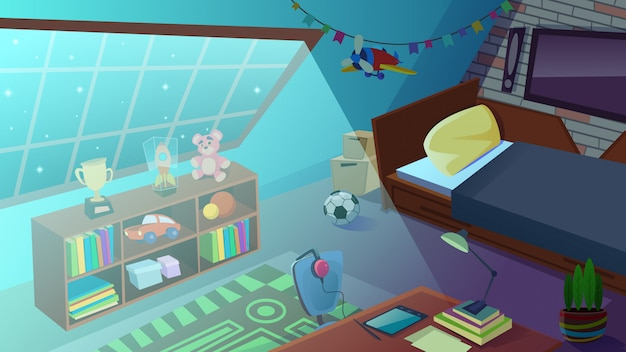 Jongens slaapkamer interieur 's nachts. kinderkamer