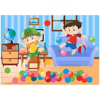 Jongens spelen in de woonkamer