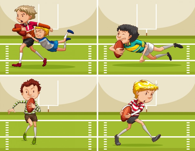 Jongens spelen rugby in het veld