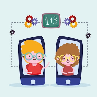 Jongens studenten smartphone