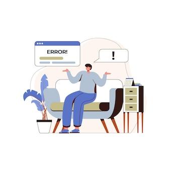 Jongens vinden fouten op internet, jongens vinden crashes, jongens gaan zitten en verwarren conceptuele ontwerpillustraties