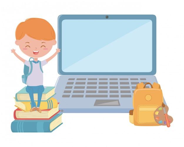 Jongensjong geitje van school en laptop ontwerp