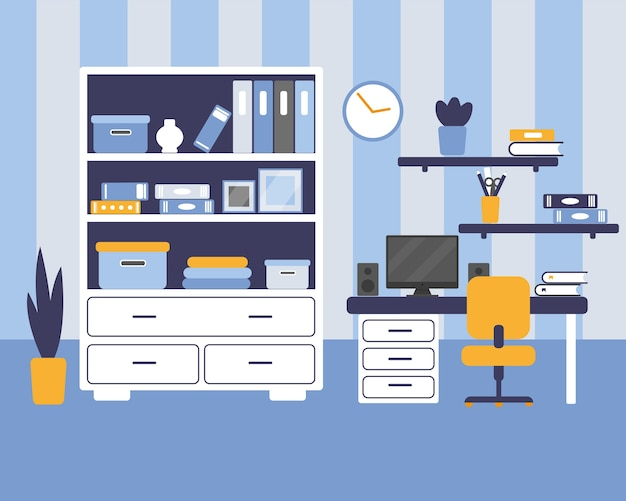 Jongenskamer met meubilair. gezellig interieur in vlakke stijl. illustratie.