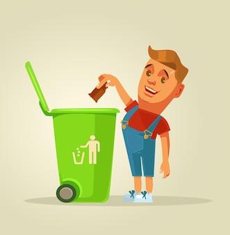 Jongenskarakter gooit vuilnis in de prullenbak.