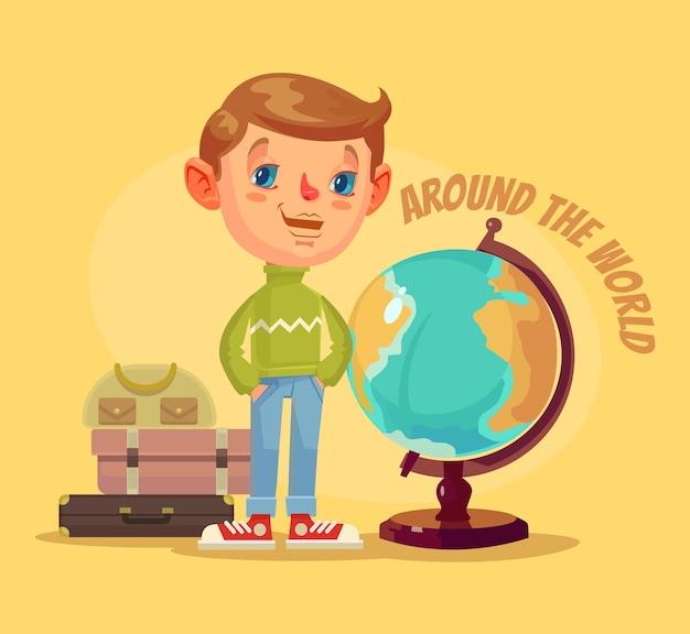 Jongenskarakter reist de wereld rond.
