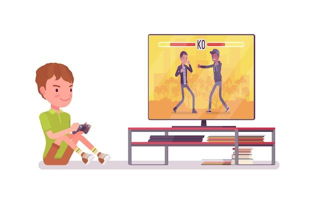 Jongenskind 7-9 jaar oud, console gaming mannelijk schoolgaande kind
