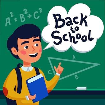 Jongensleerling voor bord met terug naar schooltekst