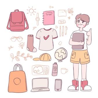 Jongenspersonage en kostuums en schoolbenodigdheden zoals schoudertassen, tassen, notitieboekjes, schoenen, laptops.