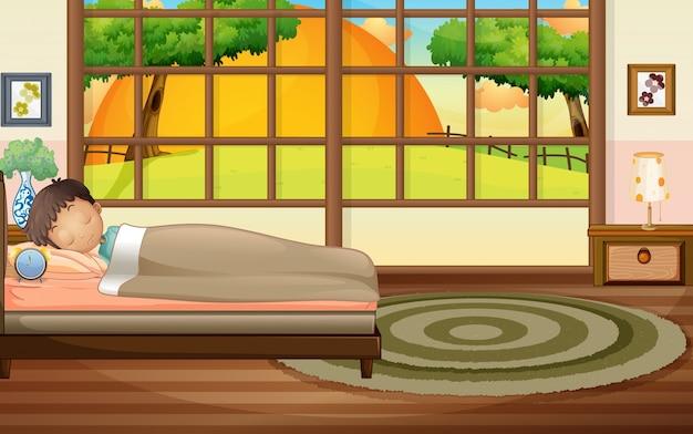 Jongensslaap in slaapkamer