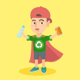 Jongenssuperheld met aluminium blik en plastic fles