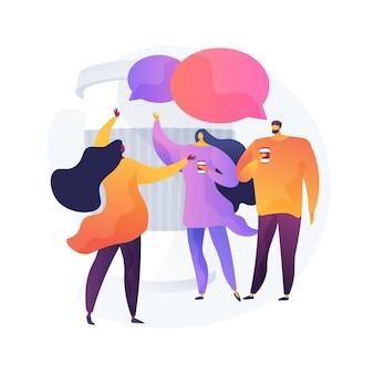 Jongeren, collega's met werkonderbreking. vriendenbijeenkomst, communicatie met collega's, vriendelijk gesprek. mensen die koffie drinken en praten.