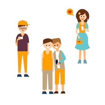 Jongeren communiceren met apparaten illustratie set