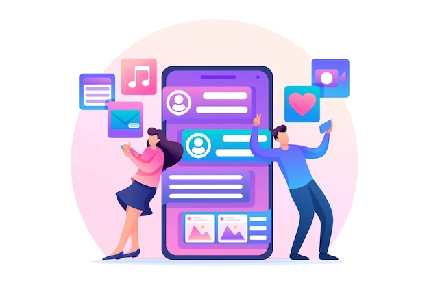 Jongeren corresponderen in een sociaal netwerk in een plat ontwerp