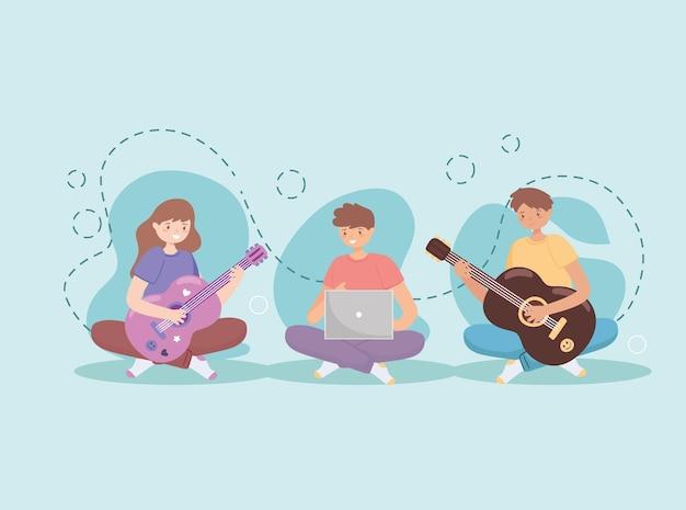 Jongeren die gitaar leren spelen