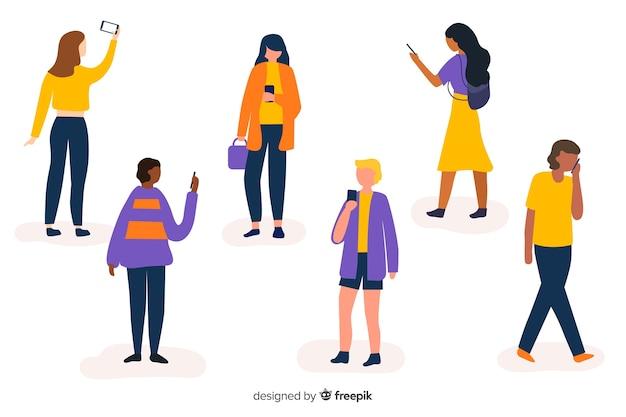 Jongeren die hun smartphones ingesteld houden