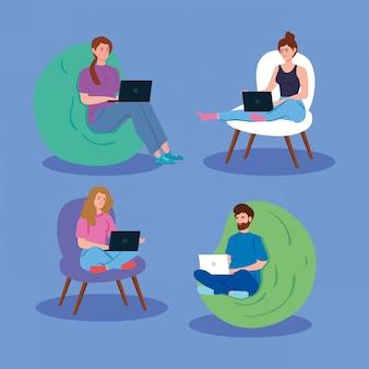 Jongeren die in telewerkenillustratie werken