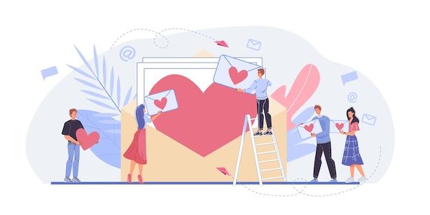 Jongeren die op valentijnsdag harten achtergrond houden