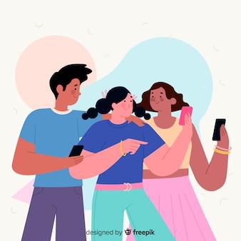 Jongeren die smartphones concept houden