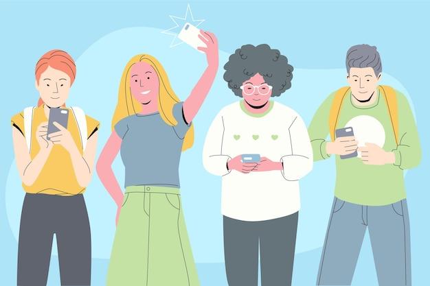 Jongeren die smartphones gebruiken